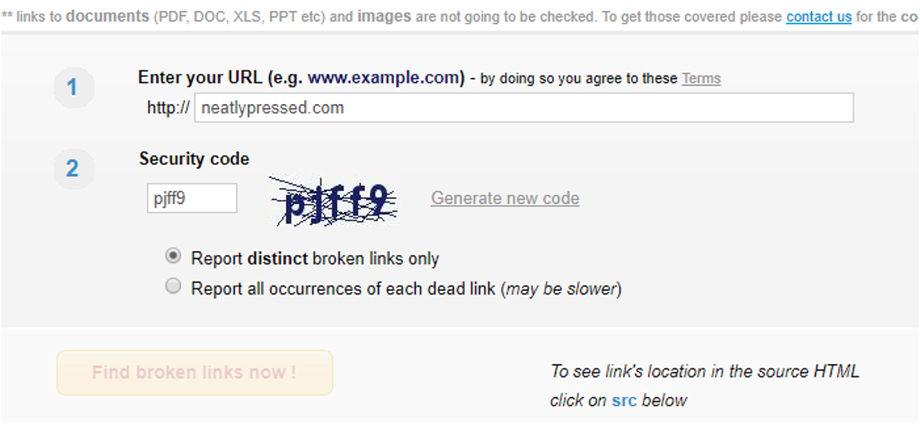 Broken Link Check Interface