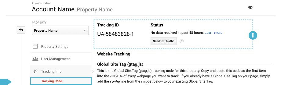 Check Google Analytics Tracking Status